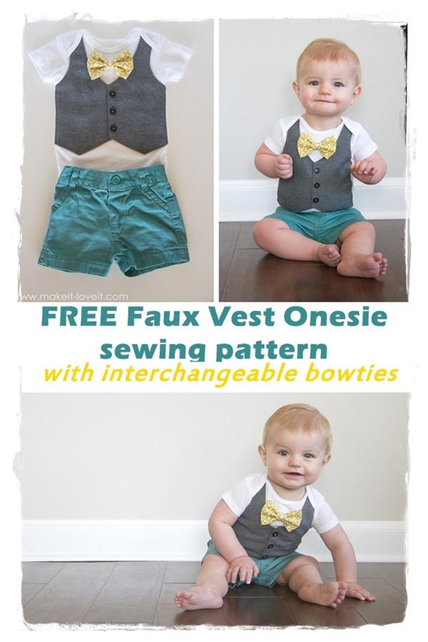 Free Faux Vest Onesie sewing pattern