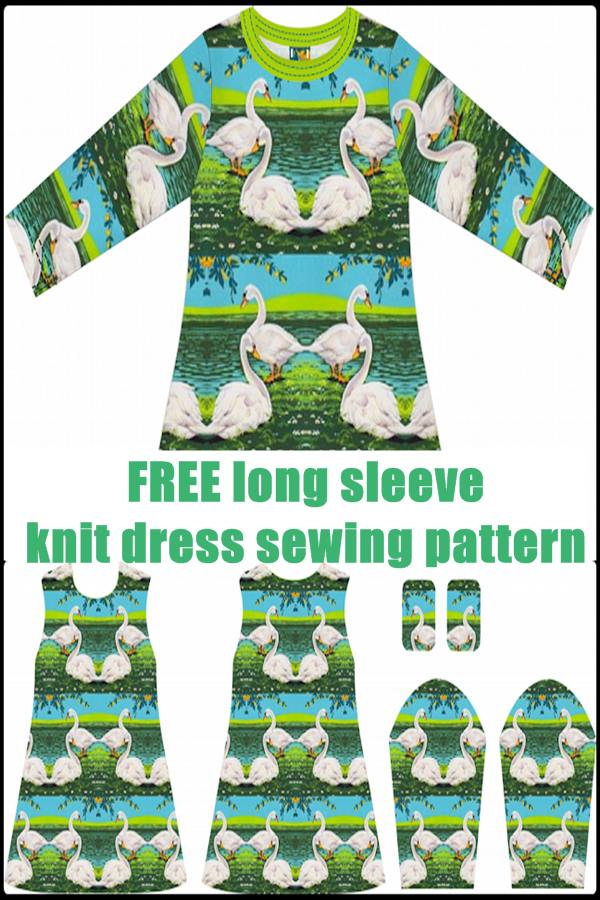 FREE long sleeve knit dress sewing pattern
