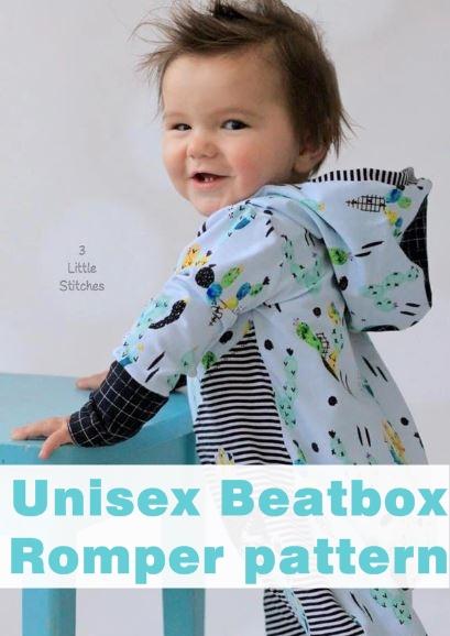 Unisex beatbox romper pattern (3mths-14yrs)