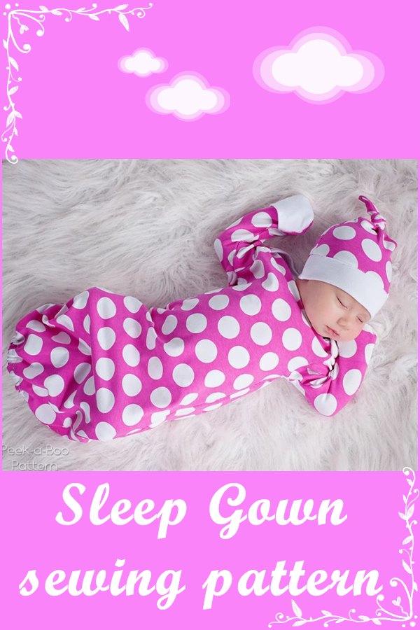 Sleep gown or sleep sack sewing pattern (preemie-6mts)