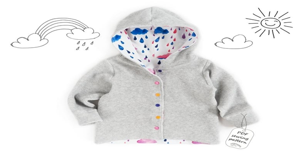 Unisex hooded cardigan jacket pattern (1mth-10yrs)