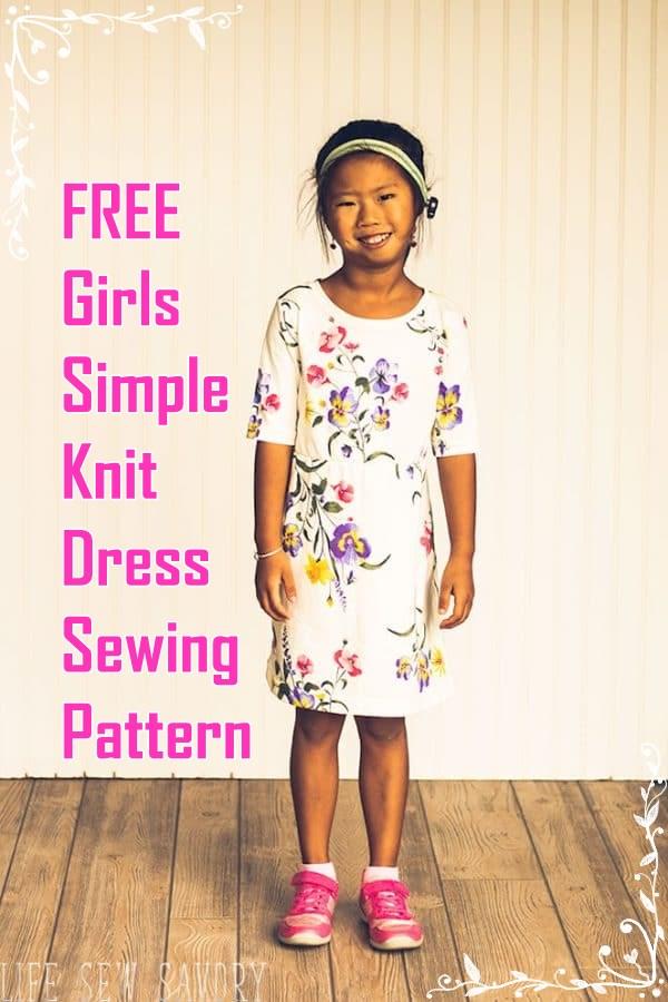 Free girls simple knit dress sewing pattern
