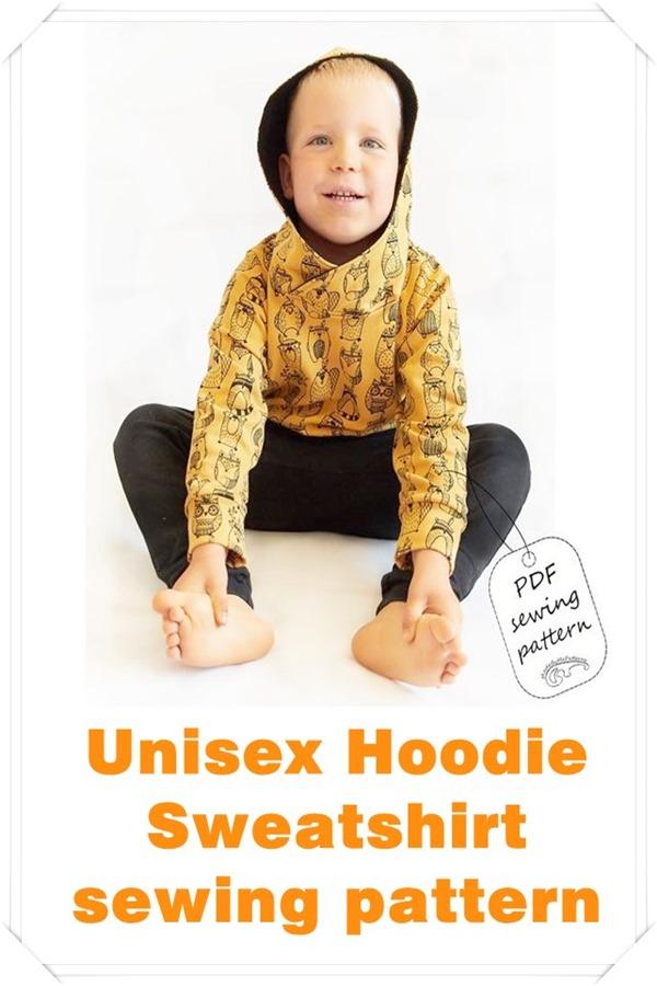 Unisex hoodie sweatshirt sewing pattern