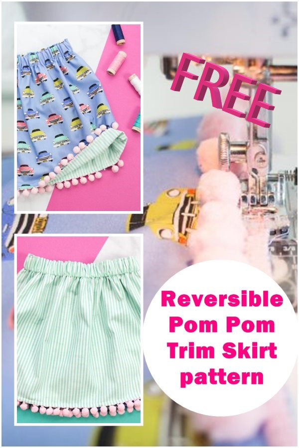 FREE REVERSIBLE POM-POM TRIM SKIRT PATTERN (ANY SIZE)