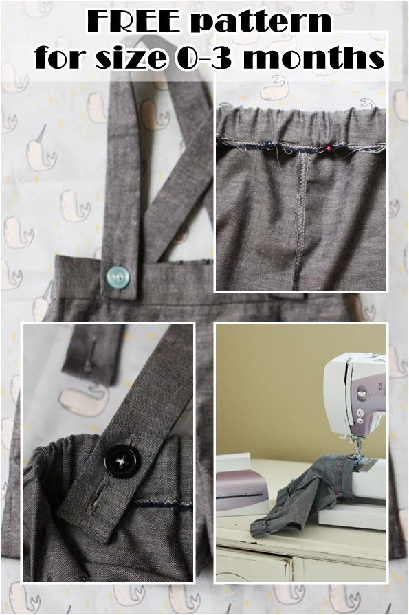 Baby boy shorts with suspender pattern free for 0-3 months