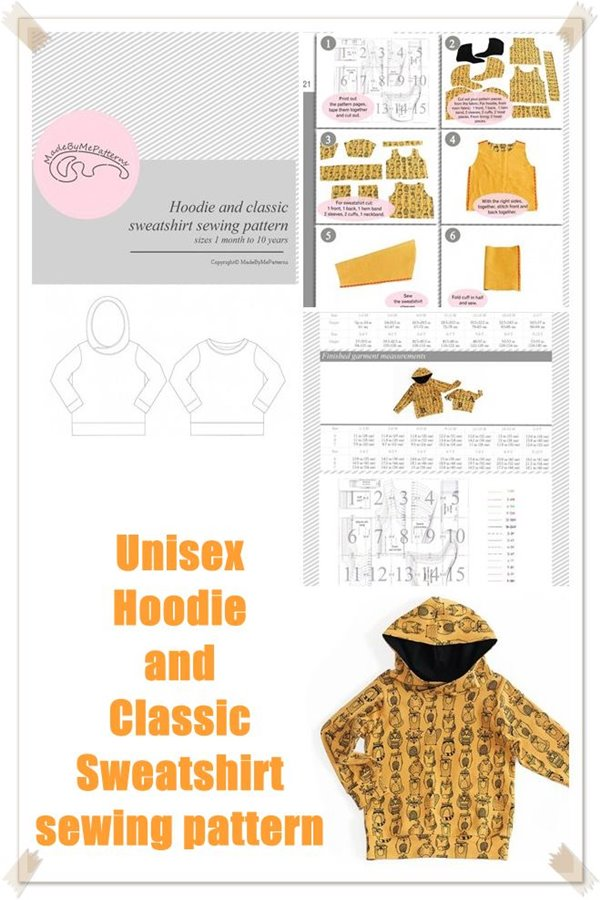 Unisex hoodie and classic sweatshirt sewing pattern