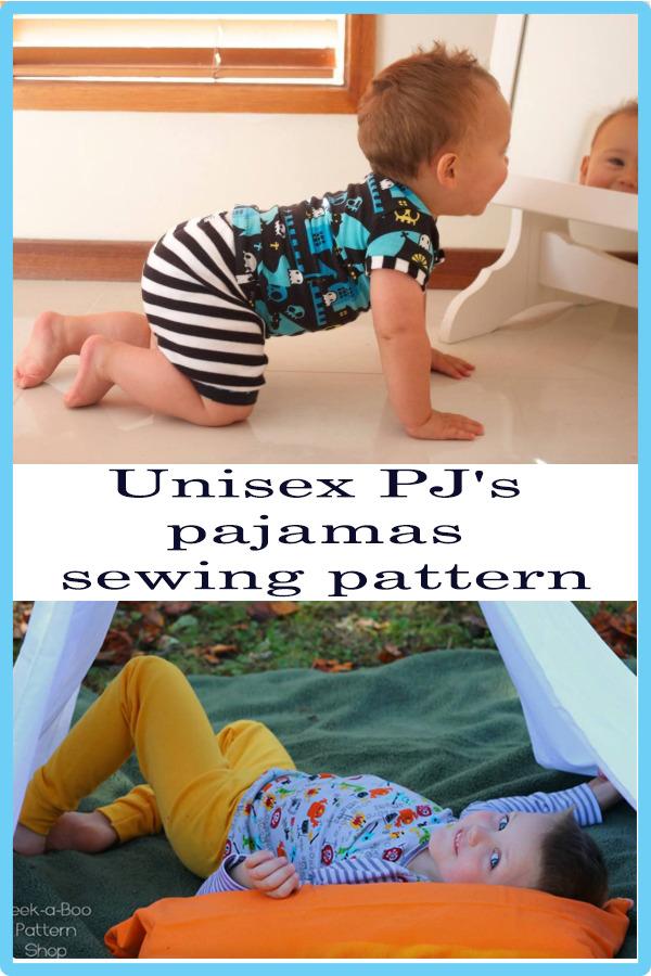 Unisex PJ's pajamas sewing pattern