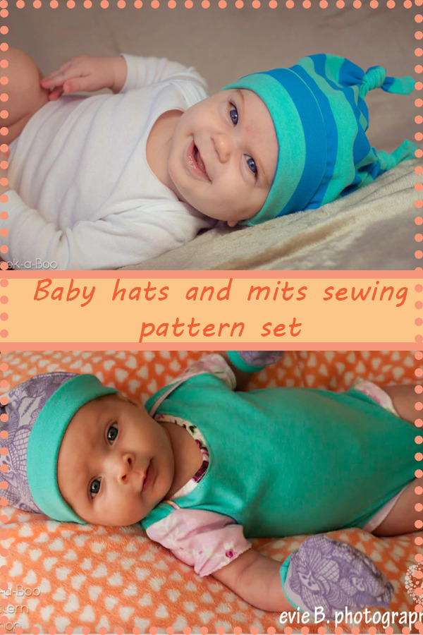Baby hats and mitts sewing pattern set