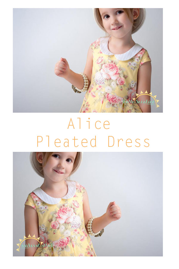 The Alice Pleated Dress sewing pattern in sizes 6 months to girls 12.