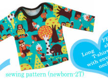 FREE long sleeve T-shirt with envelope neck sewing pattern (newborn-2T)