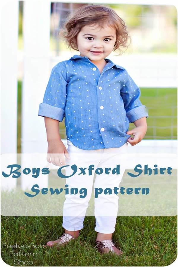 Boys Oxford shirt sewing pattern