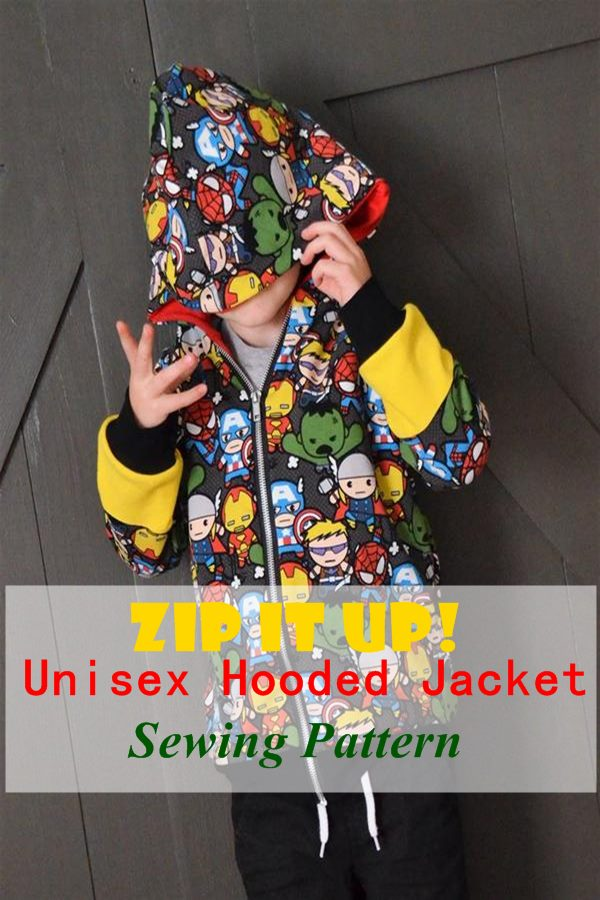 Zip it up unisex hooded jacket sewing pattern