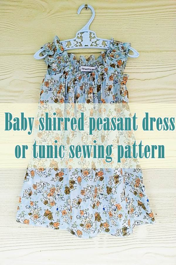 Baby shirred peasant dress or tunic sewing pattern