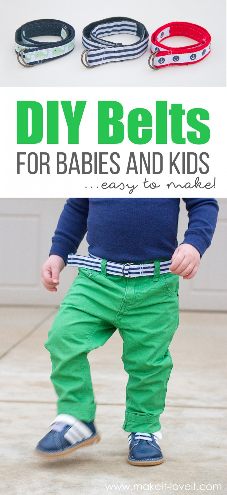 Free easy to sew belts for babies and kids sewing pattern