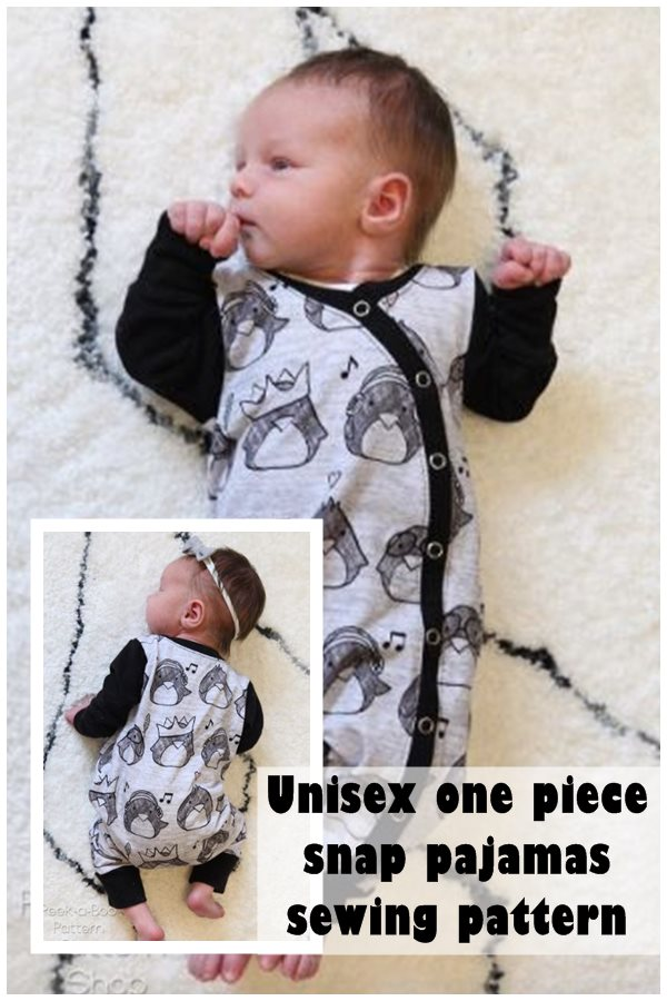 Unisex one piece snap pajamas sewing pattern