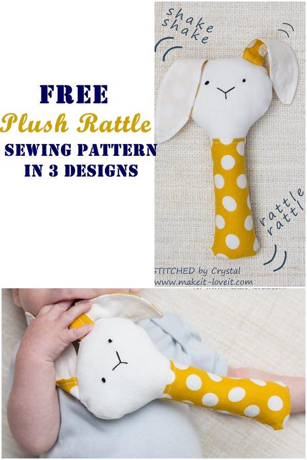 Free plush rattle sewing pattern