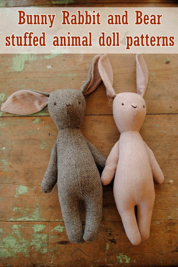 Bunny rabbit and bear stuffed animal doll patterns