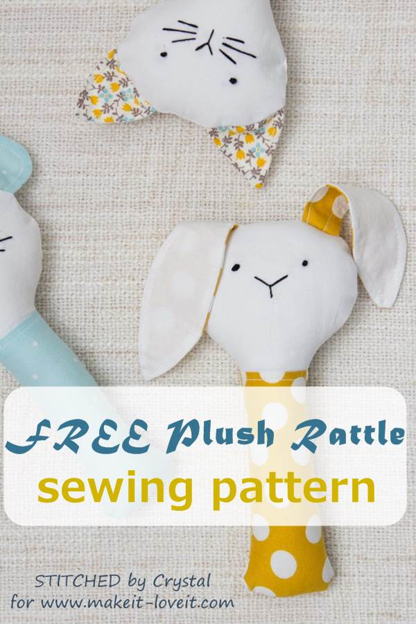 FREE plush rattle sewing pattern in 3 designs