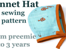 Bonnet Hat sewing pattern from preemie to 3 years