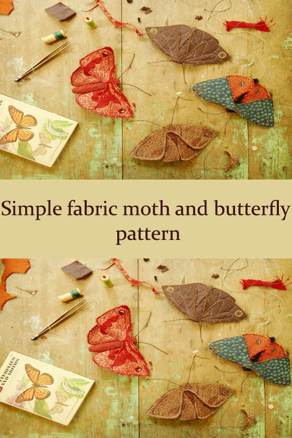 Simple fabric moth and butterfly pattern
