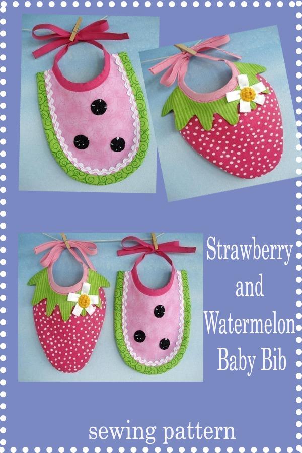 Strawberry and Watermelon Baby Bib