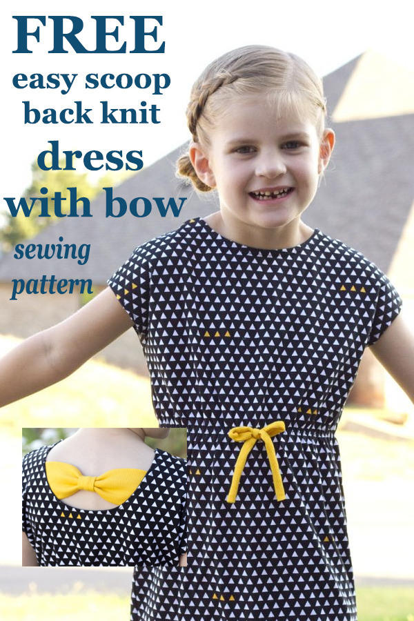 FREE easy scoop back knit dress with bow sewing pattern