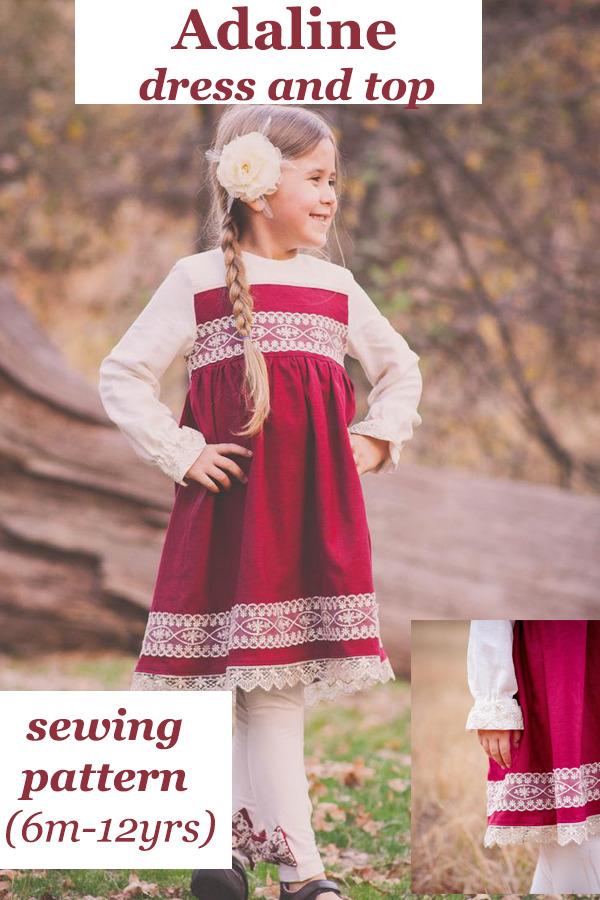Adaline dress and top pattern (6m-12yrs)