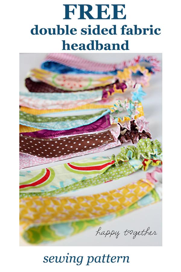 FREE double sided fabric headband sewing pattern