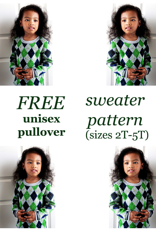 FREE unisex pullover sweater pattern (sizes 2T-5T)