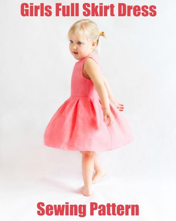Girls Full Skirt Dress sewing pattern