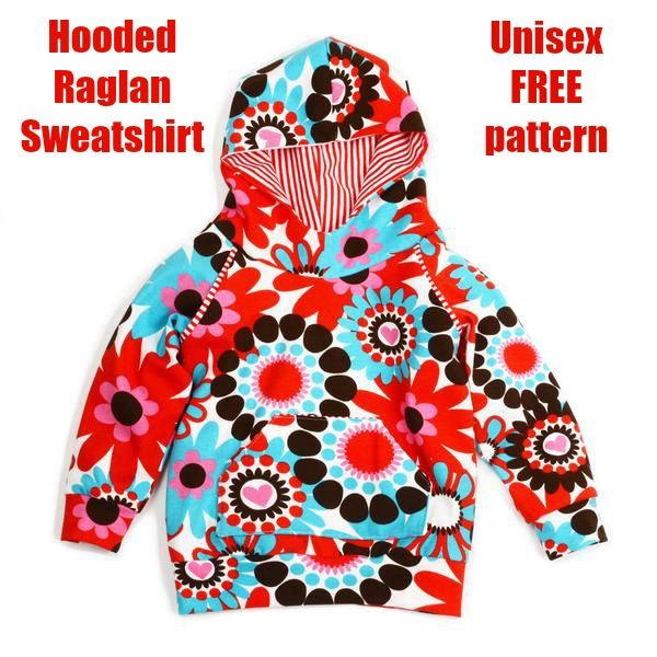 Hooded Raglan Sweatshirt unisex free pattern