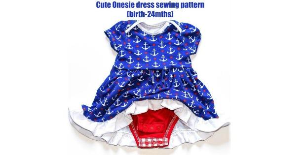 Cute Onesie dress sewing pattern (birth-24mths)