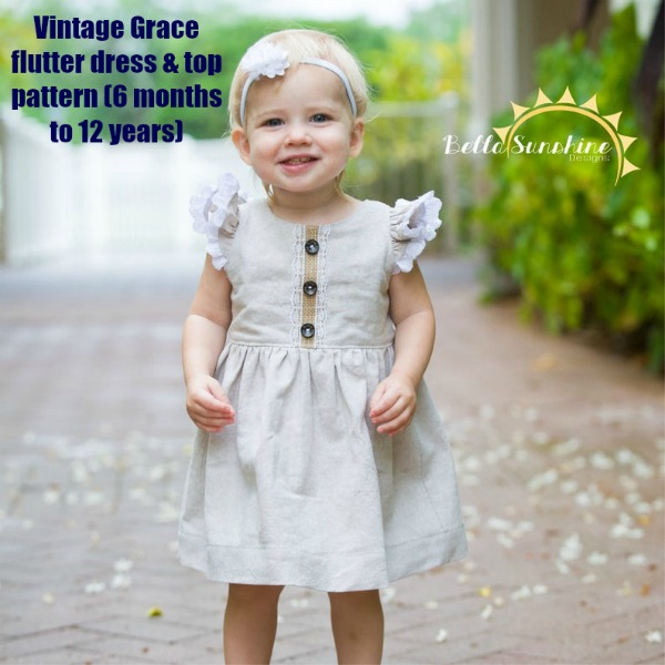 Vintage Grace flutter dress and top pattern (6 months to 12 years)