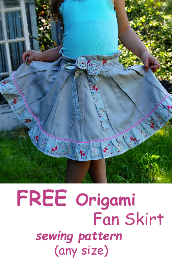 FREE Origami Fan Skirt sewing tutorial & pattern (any size)