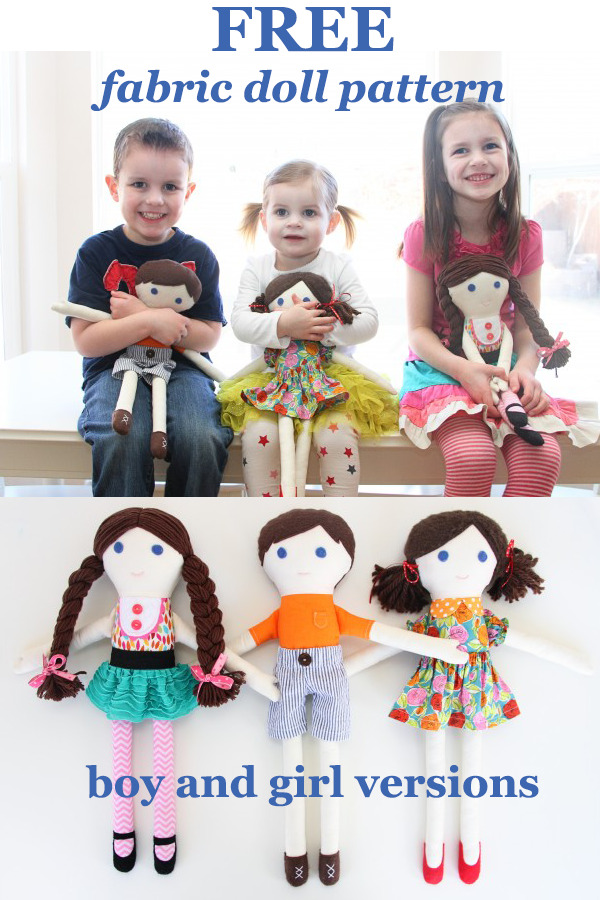 FREE fabric doll pattern-boy and girl versions