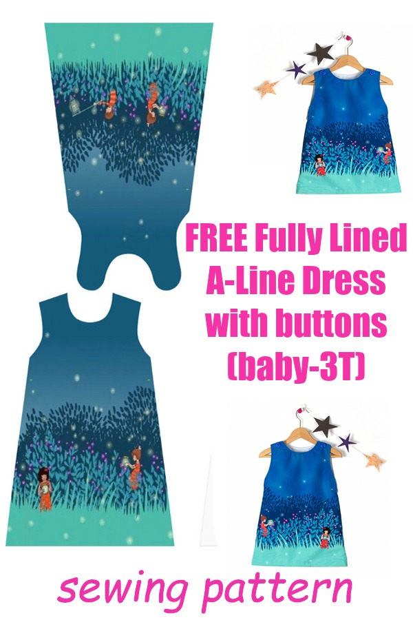 FREE fully lined a-line dress with buttons (baby-3T)