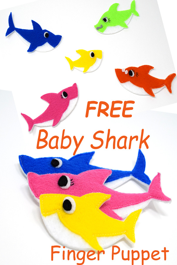 Baby Shark Finger Puppet free tutorial and pattern