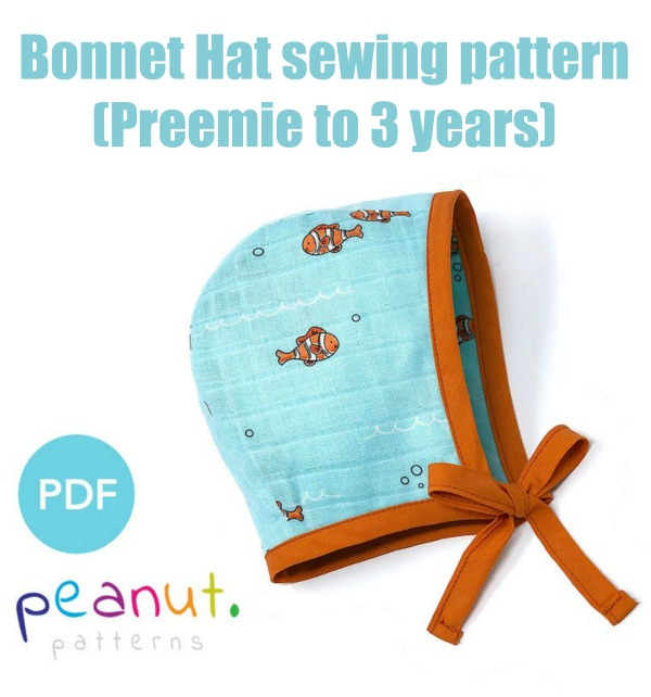 Bonnet Hat sewing pattern (Preemie to 3 years)