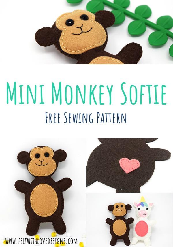 Mini Monkey Softie Toy Free Pattern & Tutorial.