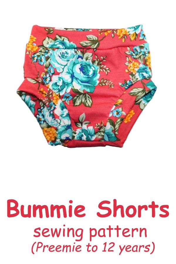 Bummie Shorts pattern (Preemie to 12 years)