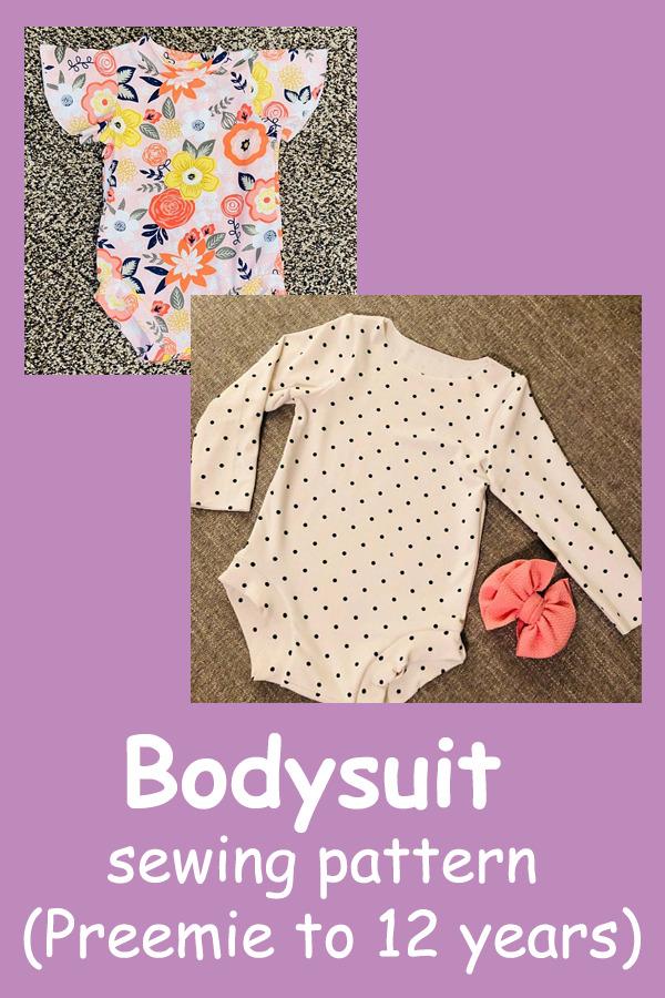 Bodysuit sewing pattern (Preemie to 12 years)