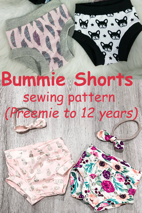 Bummie Shorts pattern (Preemie to 12 years)