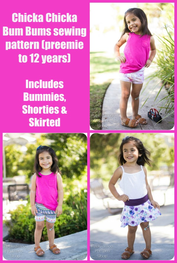 Chicka Chicka Bum Bums sewing pattern (preemie to 12 years)