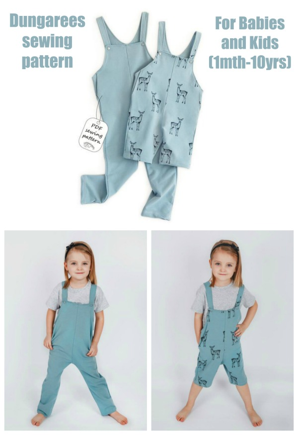 Dungarees sewing pattern for Babies & Kids (1mth-10yrs)