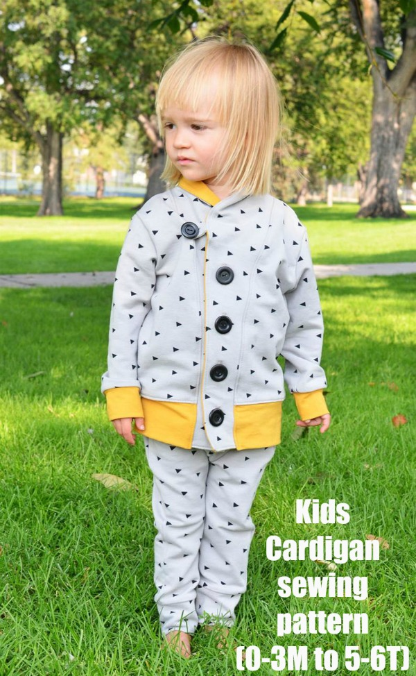 Kids Cardigan sewing pattern (0-3M to 5-6T)