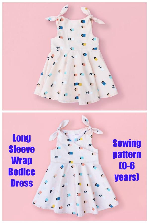 Long Sleeve Wrap Bodice Dress pattern (0-6 years)
