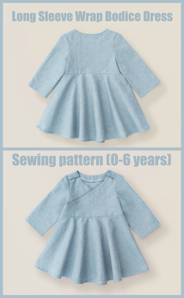 Long Sleeve Wrap Bodice Dress sewing pattern (0-6 years)