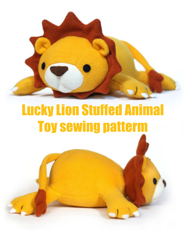 Lucky Lion Stuffed Animal Toy sewing patterm
