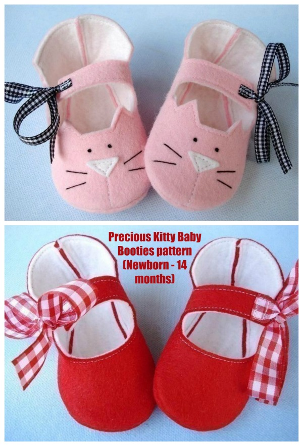 Precious Kitty Baby Booties pattern (Newborn - 14 months)