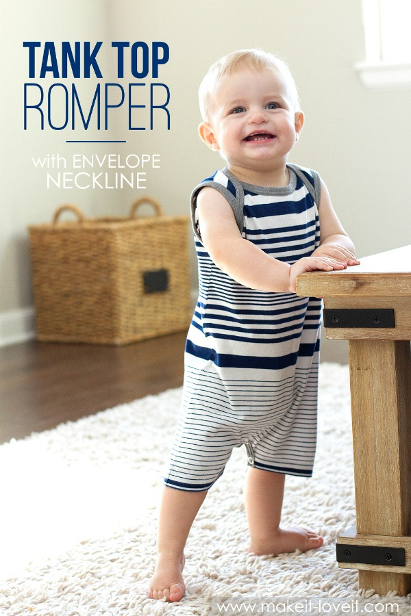 Tank Top Romper With Envelope Neckline (From An Old T-Shirt)